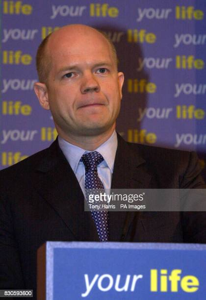 Conservative leader William Hague during the launch of his party's manifesto for local council elections at Conservative Central Office in London He...