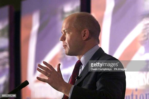 Conservative Leader William Hague outlining plans for a Common Sense revolution at the start of his party's annual conference in Blackpool