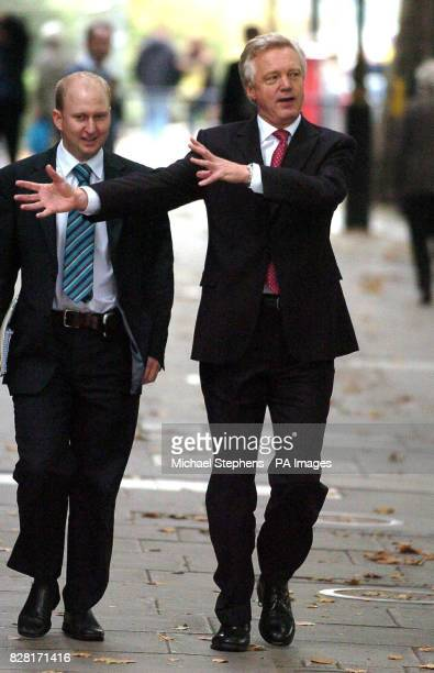 Conservative leadership candidate David Davis arrives at Millbank Studio's London Wednesday October 12 on the day that senior Tory Theresa May chose...