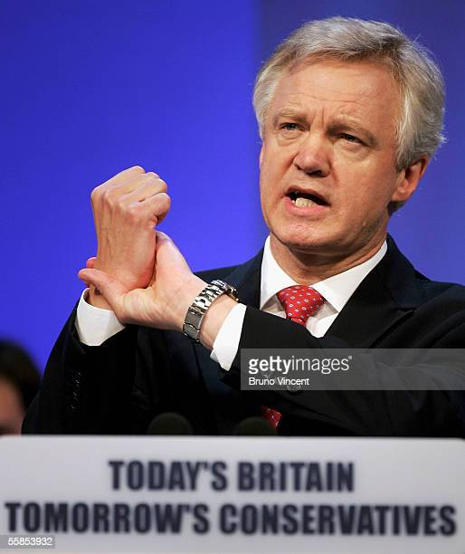 Conservative leadership challenger David Davis gestures during his speech to the Annual Party Conference October 5 2005 in Blackpool England The...