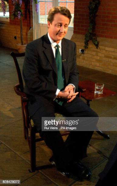 Conservative leadership contenter David Cameron with Jeremy Paxman Whittlebury Hall