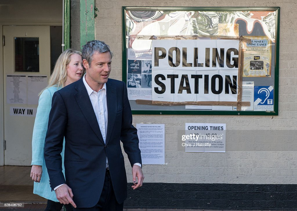 Conservative Mayoral candidate, Zac Goldsmith, leaves a polling station with his wife Alice Miranda Goldsmith at Kitson Hall, Barnes after casting his vote on May 5, 2016 in London, England. This is the fifth mayoral election since the position was created in 2000. Previous London Mayors are Ken Livingstone for Labour and more recently Boris Johnson for the Conservatives. The main candidates for 2016 are Sadiq Khan, Labour, Zac Goldsmith , Conservative, Sian Berry, Green, Caroline Pidgeon, Liberal Democrat, George Galloway, Respect, Peter Whittle, UKIP and Sophie Walker, Woman's Equality Party. Results will be declared on Friday 6th May.