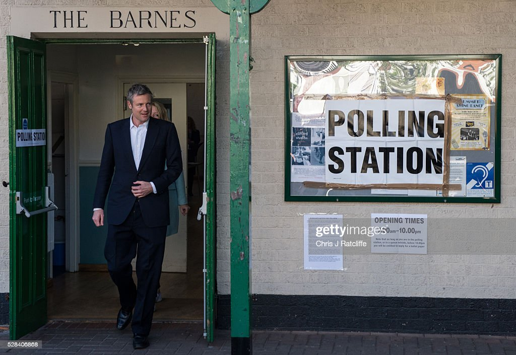Conservative Mayoral candidate, <a gi-track='captionPersonalityLinkClicked' href=/galleries/search?phrase=Zac+Goldsmith&family=editorial&specificpeople=161321 ng-click='$event.stopPropagation()'>Zac Goldsmith</a>, leaves a polling station at Kitson Hall, Barnes with his wife Alice Miranda Goldsmith after casting his vote on May 5, 2016 in London, England. This is the fifth mayoral election since the position was created in 2000. Previous London Mayors are Ken Livingstone for Labour and more recently Boris Johnson for the Conservatives. The main candidates for 2016 are Sadiq Khan, Labour, <a gi-track='captionPersonalityLinkClicked' href=/galleries/search?phrase=Zac+Goldsmith&family=editorial&specificpeople=161321 ng-click='$event.stopPropagation()'>Zac Goldsmith</a> , Conservative, Sian Berry, Green, Caroline Pidgeon, Liberal Democrat, George Galloway, Respect, Peter Whittle, UKIP and Sophie Walker, Woman's Equality Party. Results will be declared on Friday 6th May.
