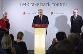 Conservative MP Boris Johnson speaks following the results of the EU referendum as Labour MP Gisela Stuart and Justice Secretary Michael Gove listen...