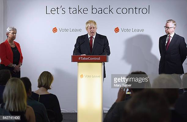 Conservative MP Boris Johnson speaks following the results of the EU referendum as Labour MP Gisela Stuart and Justice Secretary Michael Gove listen...