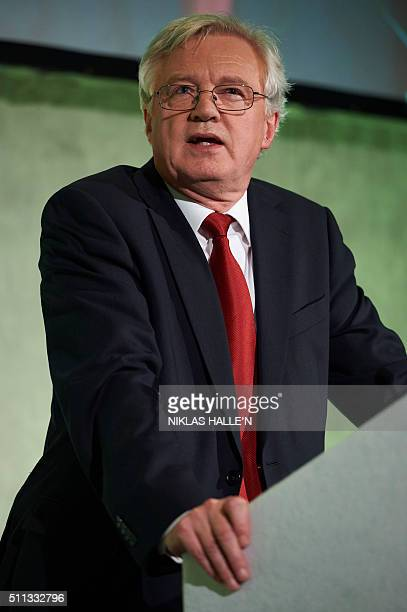 Conservative MP David Davis speaks at a public meeting by proBrexit campaigners in central London on February 19 2016 Prime Minister David Cameron...