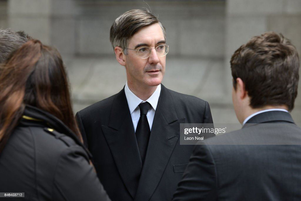 Conservative MP for North East Somerset Jacob Rees-Mogg arrives at Westminster Cathedral for the funeral of the late British Cardinal Cormac Murphy-O'Connor, on September 13, 2017 in London, England. The 85-year-old died on September 1 after a battle with cancer.