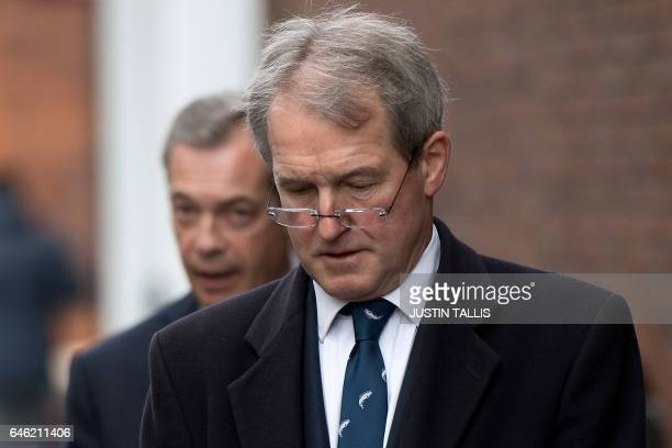 Conservative MP Owen Paterson and former UK Independence Party leader Nigel Farage arrive for a press conference on the impact of Brexit on the...