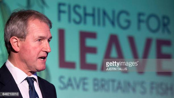 Conservative MP Owen Paterson speaks during a press conference on the impact of Brexit on the fisheries industry held with former UK Independence...
