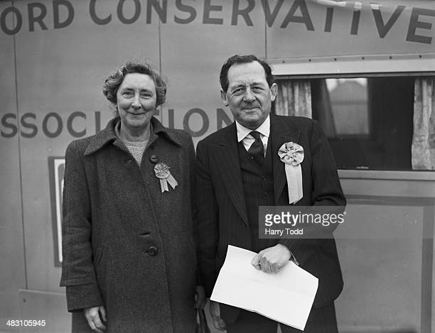 Conservative parliamentary candidate for Chelmsford Hubert Ashton with his wife Dorothy at a Conservative Party meeting on the eve of the 1950...