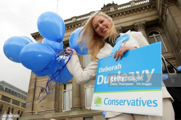 Conservative party candidate for Bolton North East Deborah Dunleavy joins Conservative Party supporters on the steps of Bolton Town Hall as Shadow...
