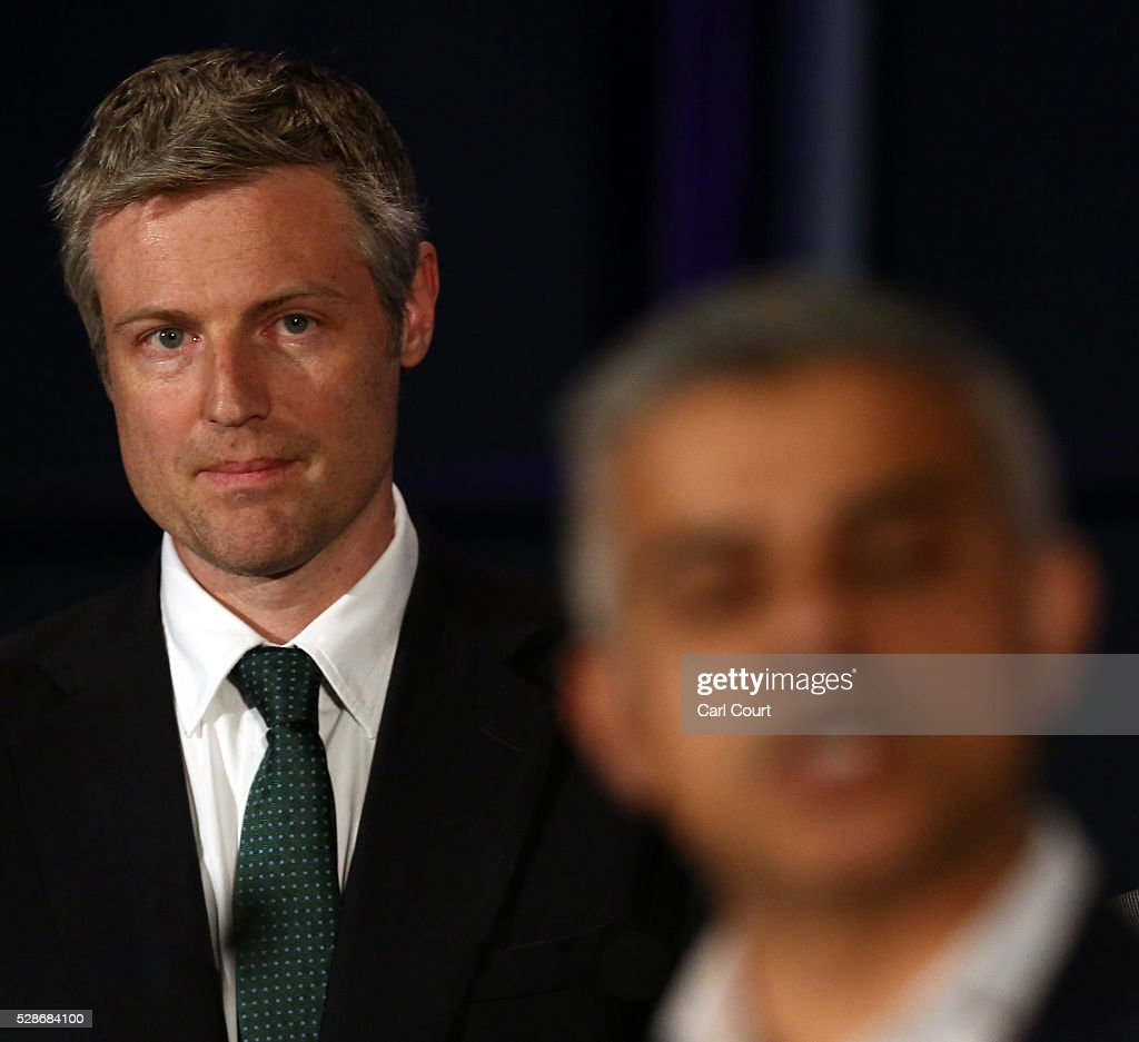 Conservative Party candidate, Zac Goldsmith (L) looks on as Labour mayoral candidate Sadiq Khan makes a speech after being announced as London mayor following local elections, on May 07, 2016 in London, England. After months of campaigning Mr Khan won the London mayoral race with 56.8 percent of the vote beating Conservative Party candidate Zac Goldsmith into second place.