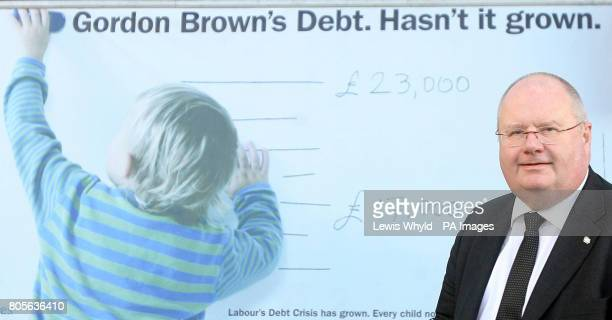 Conservative Party Chairman Eric Pickles launches a poster campaign highlighting Gordon Brown's debt crisis at the Conservative Party HQ in London