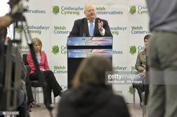 Conservative Party chairman Eric Pickles MP speaks at the Parc Thistle Hotel Cardiff in Wales where he launched the Welsh Conservatives General...