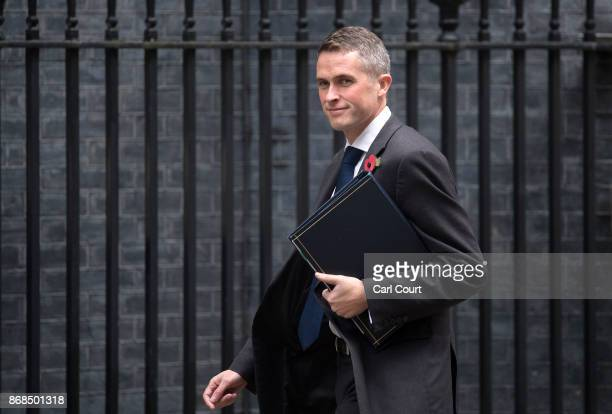 Conservative Party Chief Whip Gavin Williamson arrives to attend a cabinet meeting in Downing Street on October 31 2017 in London England The Prime...