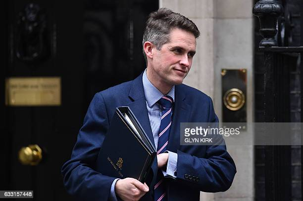 Conservative party chief whip Gavin Williamson leaves the weekly meeting of the cabinet at 10 Downing Street in central London on January 31 2017 /...