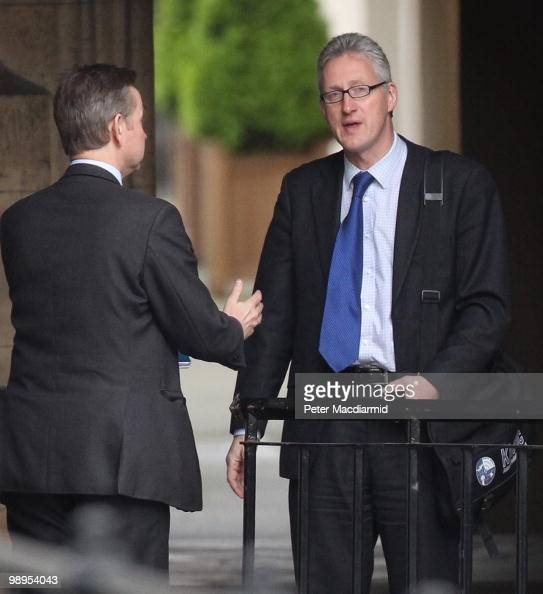 Conservative Party education spokeman Michael Gove talks with former Liberal Democrat MP Lembit Opik at Parliament on May 10 2010 in London England...