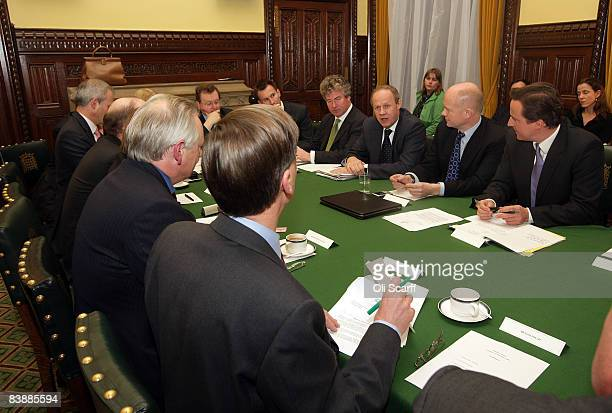 Conservative Party Immigration Minister Damian Green speaks at a shadow Cabinet meeting in the Palace of Westminster on December 2 2008 in London...