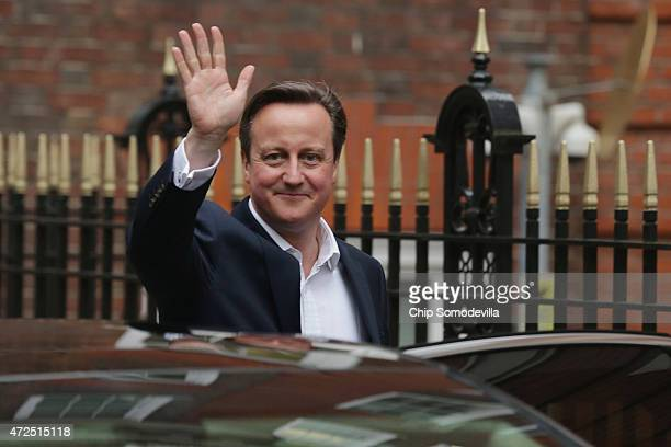 Conservative Party leader and Prime Minister David Cameron leaves Torie Party headquarters after celebrating with party staff on May 8 2015 in London...