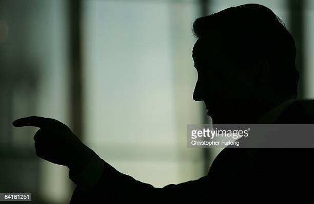 Conservative party leader David Cameron addresses business leaders during an answer and question session on the economy at The Lowry on January 6...