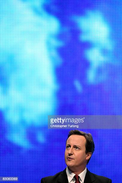 Conservative Party leader David Cameron addresses delegates on the current financial crisis during the Conservative party conference on September 30...