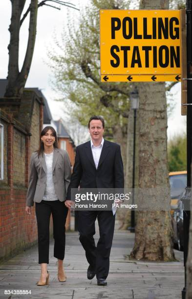 Conservative Party leader David Cameron and wife Samantha arrives at a polling station in Notting Hill West London to cast their votes in the local...