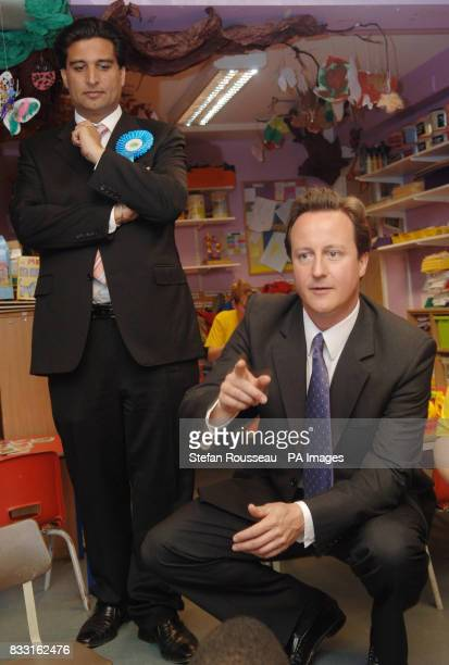 Conservative Party leader David Cameron campaigns for the council byelection at a childrens play group at the YMCA in Ealing west London today with...