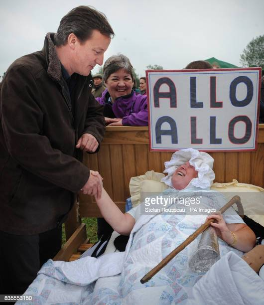 Conservative Party leader David Cameron Conservative Party leader David Cameron meets participants in a 1940s parade after he officially opened the...