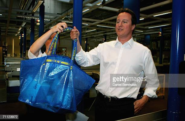 Conservative Party leader David Cameron departs an Ikea store with his shopping on June 5 2006 in London David Cameron departed on an Environmentally...