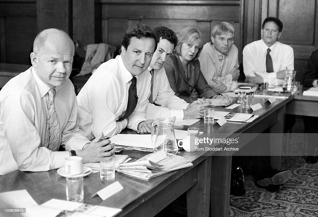 Conservative Party leader David Cameron flanked by William Hague and George Osbourne in a meeting with his entire shadow cabinet during an away from London get together held at Kent County Council offices in Maidstone, England.
