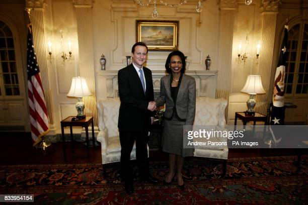 Conservative Party leader David Cameron is greeted by US Secretary of State Condoleezza Rice at the State Department in Washington