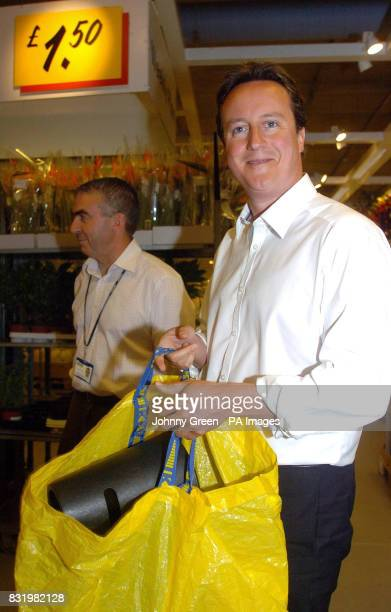 Conservative Party leader David Cameron marks World Environment day by visiting IKEA Wembley north London to back a new scheme to cut plastic bag use
