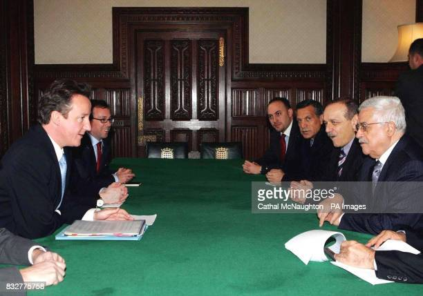 Conservative Party leader David Cameron meets Palestinian President Mahmoud Abbas in the Shadow Cabinet room