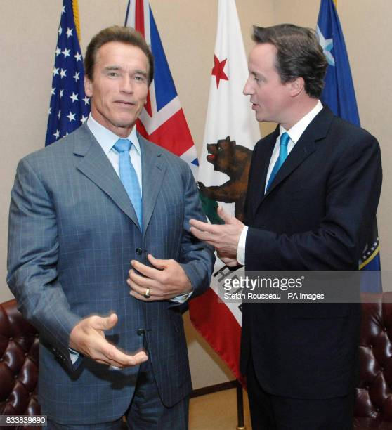 Conservative Party leader David Cameron meets the Governor of California Arnold Schwarzenegger at his office in Sacremento in California today Mr...