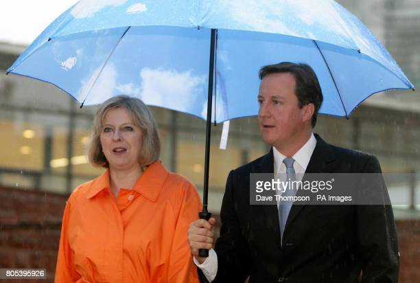 Conservative Party Leader David Cameron returns to the Midland Hotel with Shadow Secretary of State for Work and Pensions Theresa May after taking...