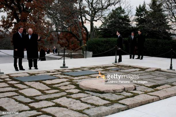 Conservative Party leader David Cameron stands with superintendent Jack Metzler and Col Mike Page at the JFK Memorial Arlington National Cemetery in...