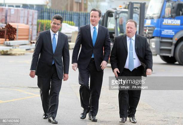 Conservative Party leader David Cameron with Conservative candidate for Reading West Alok Sharma and Neil Lawrence Sales and Operations Director of...