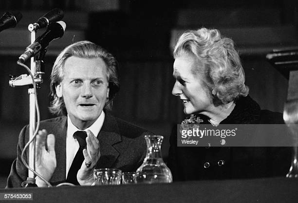 Conservative Party leader Margaret Thatcher and Shadow Trade Minister Michael Heseltine speaking at a rally organized by the Chamber of Trade at...