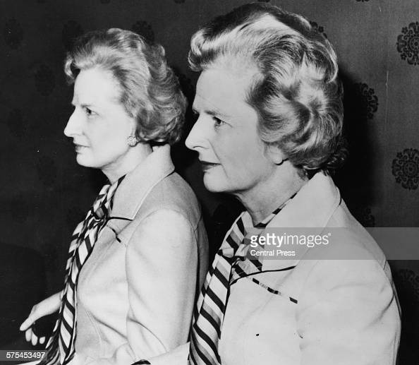 Conservative Party leader Margaret Thatcher posing with her waxwork by sculptor Jean Fraser at Madame Tussaud's in London October 6th 1975