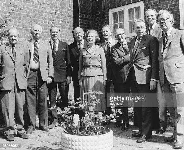 Conservative Party leader Margaret Thatcher posing with the politicians who will make up her cabinet if they win the upcoming General Election Angus...
