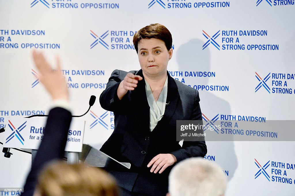 Conservative party leader Ruth Davidson holds a press conference on May 6, 2016 in Edinburgh, Scotland. The Scottish Conservatives are now the second largest party at Holyrood following a bad night at the polls for the Scottish Labour Party.