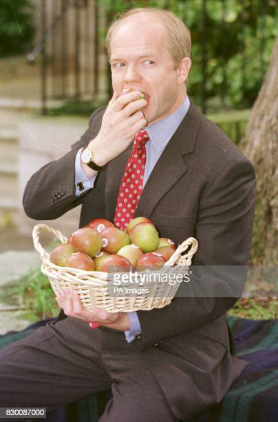 Conservative Party leader William Hague celebrates National Apple Day today by tucking into a British Cox Apple as part of a 'Better Break' campaign...