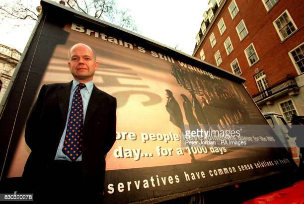 Conservative Party leader William Hague outside Conservative Central Office for the launch of the latest poster campaign as part of the Tory...
