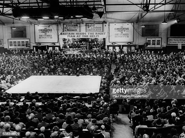 Conservative Party leader Winston Churchill opens the party's General Election campaign in Liverpool Stadium 3rd October 1951 In the centre of the...