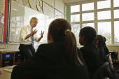Conservative Party leadership challenger David Davis is seen giving a lesson at Haling Manor High School on November 18 2005 in Croydon England Mr...