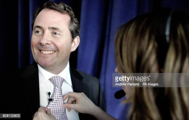 Conservative Party leadership contender Dr Liam Fox prepares before his speech at the Centre for Policy Studies thinktank in central London Wednesday...