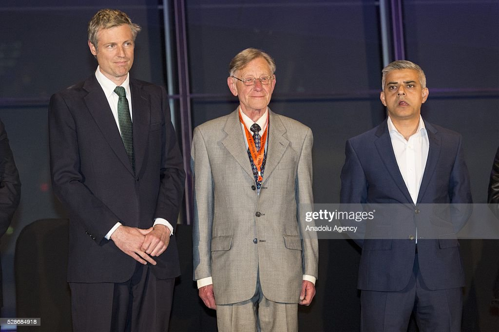 Conservative party London mayoral Zac Goldsmith (L), Lee Harris and and Labour party London mayoral candidate Sadiq Khan at the London Mayoral election in London, United Kingdom on May 06 2016. Khan becomes London's first muslim mayor.