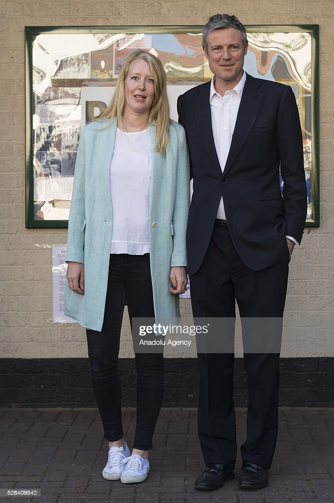 Conservative Party MP Zac Goldsmith (R) and his wife Alice Goldsmith (L) leave the polling station after they casted their votes within London Mayoral Elections in Richmond Park constituency in London, United Kingdom on May 05, 2016.
