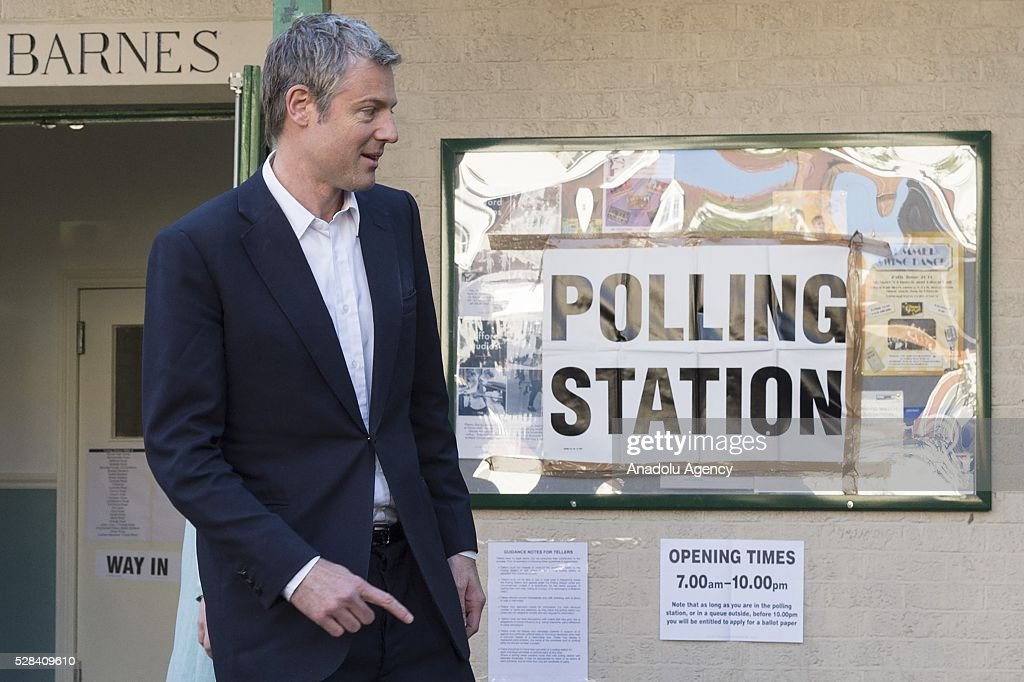 Conservative Party MP Zac Goldsmith leaves the polling station after they casted their votes within London Mayoral Elections in Richmond Park constituency in London, United Kingdom on May 05, 2016.