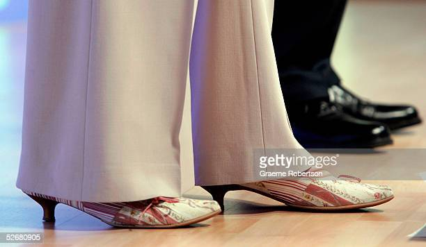 Conservative Party Shadow Secretary of State for Family Theresa May's shoes are seen at their morning press conference on April 22 2005 in London...